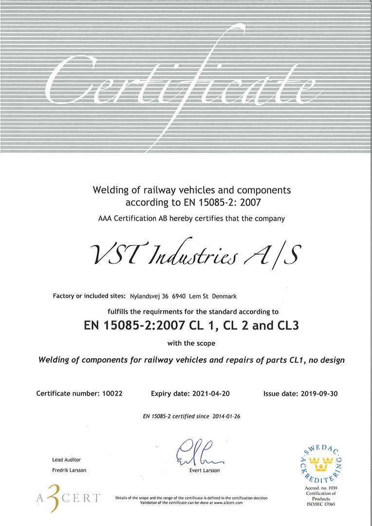 EN 15085-2 certifikat for VST Industries
